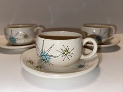Franciscan Earthenware Atomic Starburst Set Of Three Cups And Saucers No Chips