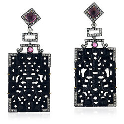 43.55ct Carved Jet And Diamond Dangle Earrings Gold 925 Silver Jewelry