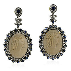 Pave Diamond Dangle Earrings 18k Gold 925 Silver Carved Cameo Jewelry Women