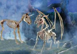 Dragon With Wings And Unicorn Skeleton Figures 2-pcs Halloween Yard Decor 3-ft New