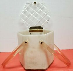 Vintage Llewellyn Pearl Lucite Hexagon Shaped Purse W/crosshatch Design On Lid