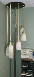 Vintage 1960s Mcm 7 Light Tension Pole Lamp Spiral Staircase Hanging Swag Lights
