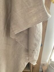 76 y antique French FLOPPY pure LINEN fabric natural tone c1900