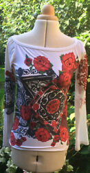 Save The Queen White Red And Black Scoop Neck Long Sleeved Top / T-shirt Size M