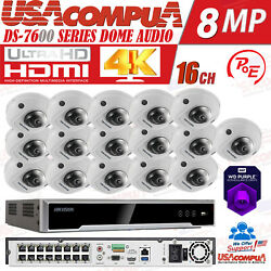 Hikvision 4k Security Camera System 16ch Poe 4mp Mini Dome /optional Hdd