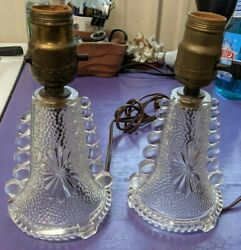 Antique Matching Clear Hobnail Bubble Glass Bedroom Table Lamps Art Deco Works
