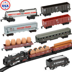 9 Classic Retro Steam Trains Engine Head Cars And Railway Electric Kids Toy Set