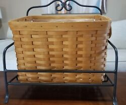 Longaberger Magazine Basket, Protector And Wrought Iron Stand W/free Shipping