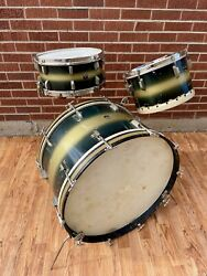 1948 Leedy Broadway Swingster Outfit Snare Tom Bass Drum Blue / Silver Duco 24