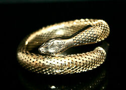 Vtg Whiting And Davis Gold Tone Flexible Coiled Snake Bracelet One Size Fits Most