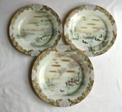 Three Porcelain Japanese Plates Depicting Water Birds And Iris Hand Painted