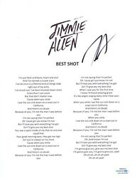 Jimmie Allen Signed Autographed Best Shot Song Lyric Sheet Country Star Acoa Coa