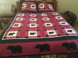 Woolrich Bear. Full/queen Size Patchwork Quilted Comforter 83 X 85andrdquo W/shams