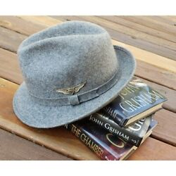 Vintage Pendleton Unisex Gray Wool Fedora Hat With Military Silver Wings