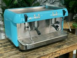 Iberital Expression 2 Group Blue Espresso Coffee Machine Commercial Cafe Barista
