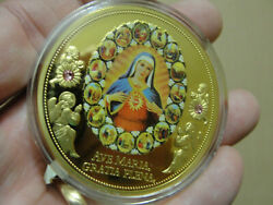 Beautiful Ave Maria 24k Gold Layered Medal Coin Token 2016 W/ Coa American Mint