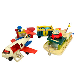 Vintage 70s Fisher Price Lot Plane, Circus, Boat Toys, Collectors Items