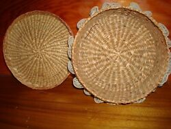 Antique Vintage Beautiful Woven Wickerrattanandnbsp Round Laced Sewing Basket