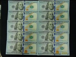 Uncirculated 2017a 100 Dollar Star Notes 1000 Face Val Sequential Serial Number