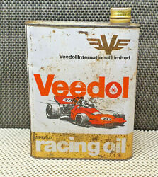 Antique Work Tool Oil Can Empty Veedol Car Race Racing Oil Decoration Garage