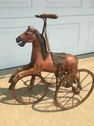 Vintage Wood, Leather And Metal Horse Tricycle Hand Carved Horse 24l X 24h X 12