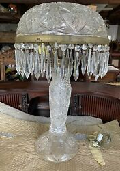 Large Cut Glass Table Lamp 25 Tall