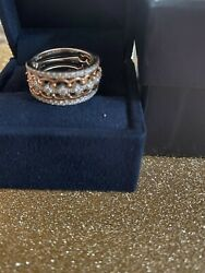 Enchanted Disney Fine Jewelry 14k White Gold And Rose Gold Majestic Tiara Ring