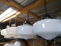 Lot Of 4 Vintage 20s 30's  School House Lights /with Globes