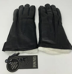 Fownes Brothers Mens Black Leather Rabbit Fur Lined Gloves Large