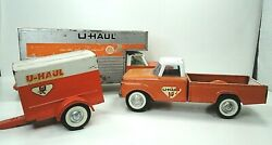 Vintage Nylint Uhaul Moving Pressed Steel Delivery Box Truck And Pickup W/trailer