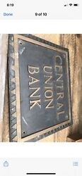 Vintage Bronze Bank Plaque From Terra Haute,in Bank Bank Sign Central Union Bank