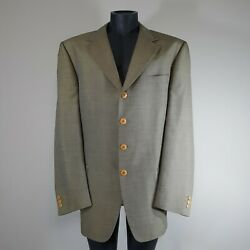 Vintage Mens Versace Couture 3 Button Jacket Wool Silk Sports Coat