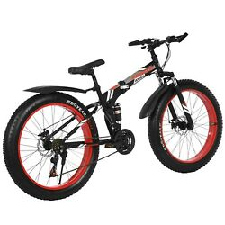 Fat Tire Mens Bicycle, 17 In Frame 26 In Wheels 21 Speeds,off-road Mountain Bike