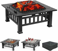 32 Fire Pit Heater Backyard Wood Burning Patio Deck Stove Bbq Fireplace Table