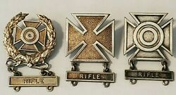 Lot Of 3--wwii Military Rifle Marksman Badge Pins Includes Expert And Sharpshooter
