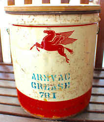 Vintage Armvac Grease Socony Oil Mobil 5 Gallon Can C. Late 1940's-50's Rare