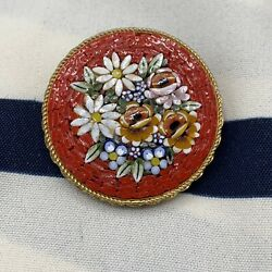 VINTAGE Italy Made Red Floral MICRO MOSAIC Gold Tone BROOCH