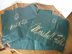 7 Vintage Marshall Field's Fields Green Paper Shopping Bags Collectible Chicago