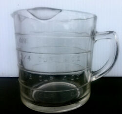 Vintage Clear Glass 3-spout 1 Cup Measuring Cup D Handle Anchor Hocking