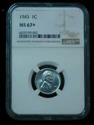 1943 Lincoln Steel Wheat Cent- Ngc Ms67+