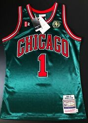 100 Authentic Derrick Rose Chicago Bulls Hwc Green Mitchell And Ness Jersey