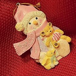 2010 Snowman Pink Hard Resin Babys First Christmas Tree Ornament Decoration Duck