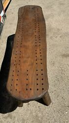 Vintage Oversized Cribbage Bench Table Mid Century Modern Wood Maine No Pegs