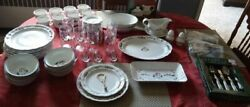 Pfaltzgraff Snow Village Dinnerware With Serving Dishes And Flatware