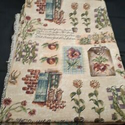 Vintage Tapestry Fabric 2 yd 54 in cottage botanical upholstery floral garden