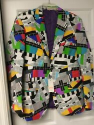 Fun And Colorful Abstract Art Oppo Suits Jacket W Piano Key Geometric Shapes Nwt