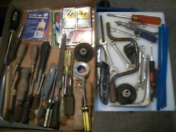 Junk Drawer Tool Lot Of 51 Pcs. Screwdrivers, Files, Wrenches, Knives, Brackets