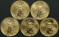 Lot Of 5 1/10 Oz American Gold Eagle 5 Five Dollar 2009 X2, 2016 X2, And 2018