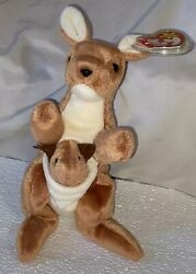 Beanie Baby Plush Doll Ty Toy quot;Pouchquot; the Kangaroo 1996 Multi Tag Errors.