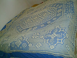 Antique Old 1930s Handmade Heedle Lace Tablecloth Filet
